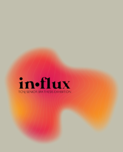 abstract graphic with orange and pink blob shape with text that reads in-flux