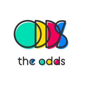 logo that consists of overlapping letters, spelling ODDS in bright colors