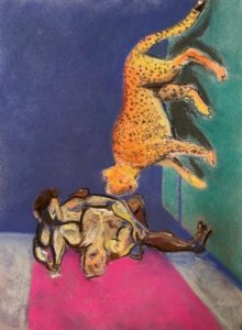 Image of a room with an abstracted figure on the floor, and a cheetah sideways on a green wallCheetahs, 12 x 9, Chalk Pastel.