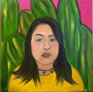 Painted portrait of the artist with shoulder-length hair and a yellow top, against a background of green striped cacti