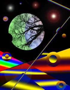 Digital image of a round planet with a pattern of bare trees and other glowing orbs and cloud shapes against a black background